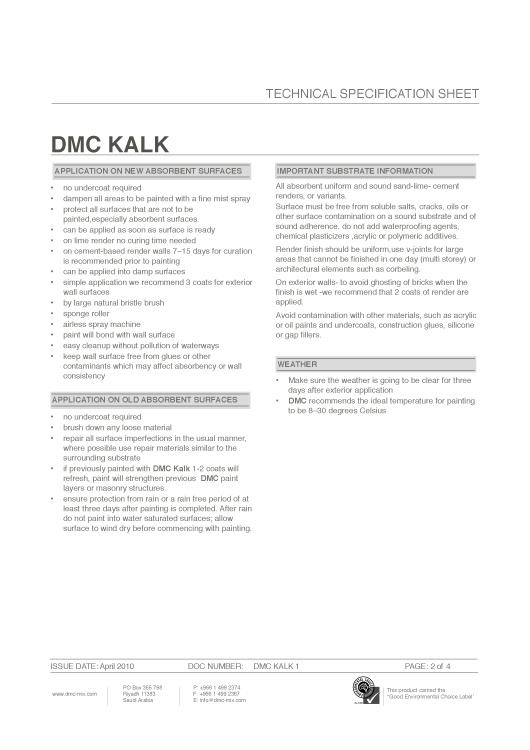 DMC Natural Paint Kalk Technical Specification Sheet